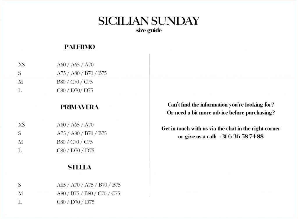 Sicilian Sunday bikini maattabel
