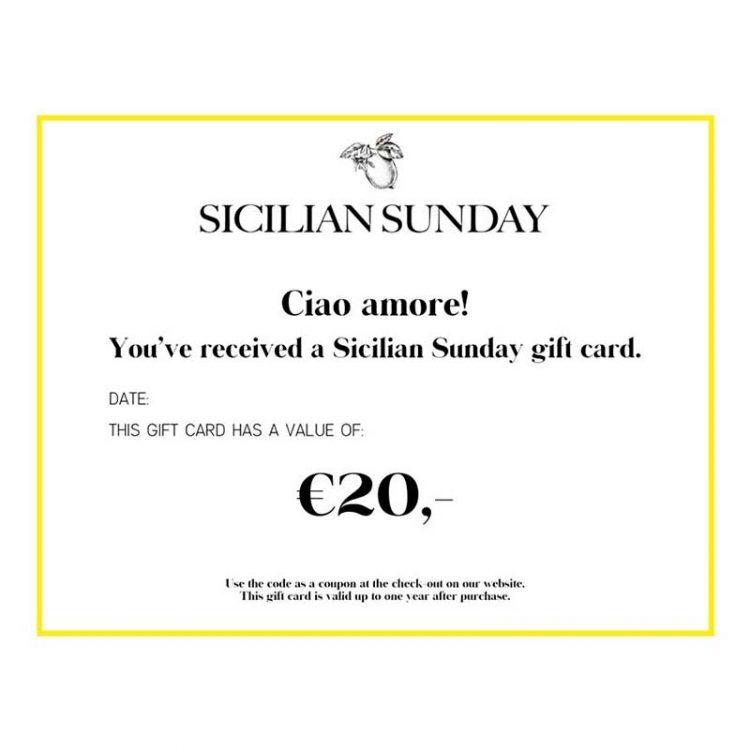 Sicilian Sunday cadeaubon 20 euro